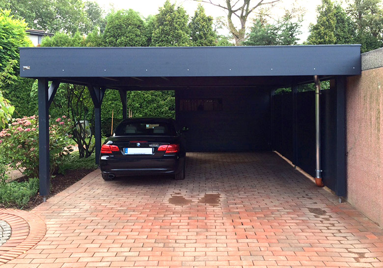 carport mit gartenhaus anbau einhausung gartana. Black Bedroom Furniture Sets. Home Design Ideas