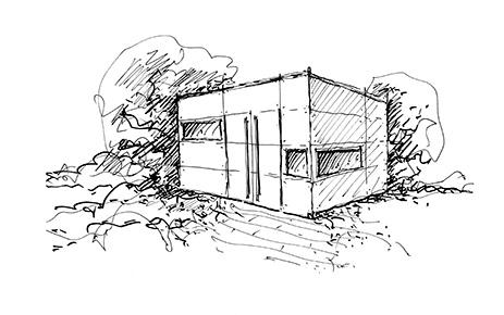 modernes gartenhaus mit goldenem schnitt gartana. Black Bedroom Furniture Sets. Home Design Ideas