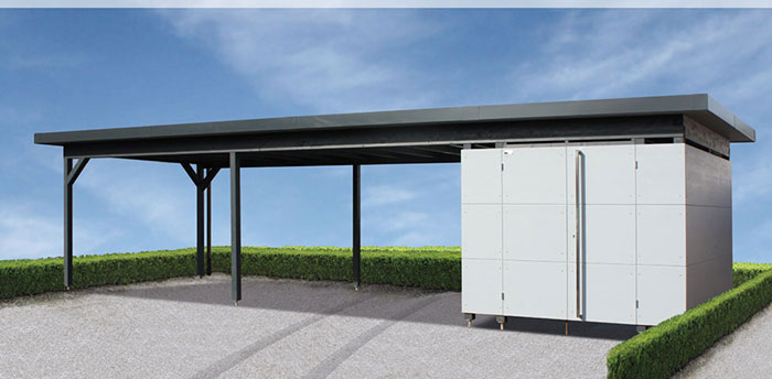 design gartenhaus einhausung carport gartana. Black Bedroom Furniture Sets. Home Design Ideas