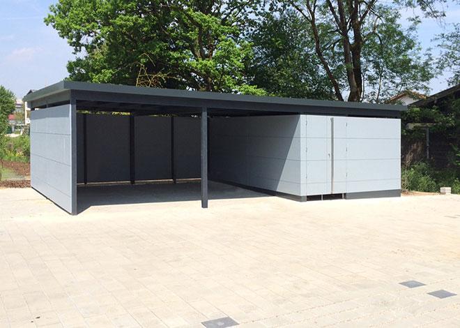 Carport mit integrierter Einhausung