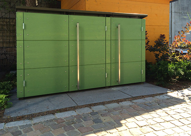Kombination Mülltonnenbox mit Gartenhaus