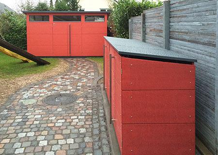 Eine Formsprache: Mülltonnenbox und Gartenhaus